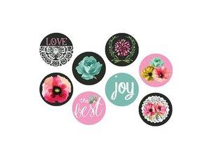 BLUMEN (MINI) UND ACCESOIRES Prima brand Tung, flair buttons, nostalgic buttons Delight, 8pcs