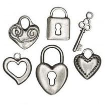 6 metalen hanger: hart, slot, sleutel