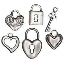 Embellishments / Verzierungen 6 metal vedhæng: hjerte, lås, nøgle