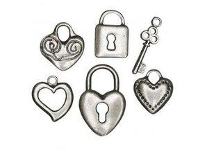 Embellishments / Verzierungen 6 Metall-Anhänger: Herz, Schloss, Schlüssel