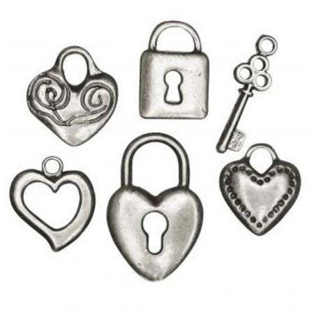 Embellishments / Verzierungen 6 metal pendant: heart, lock, key