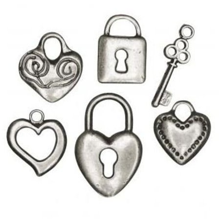 Embellishments / Verzierungen 6 metalen hanger: hart, slot, sleutel