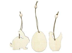 Objekten zum Dekorieren / objects for decorating Ornamento di legno, sei centimetri, coniglio, uova, pollo, 9 specie.