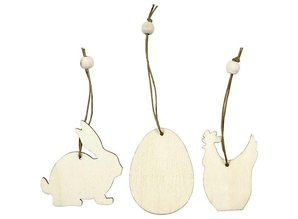 Objekten zum Dekorieren / objects for decorating Træ ornament, 6 cm, kanin, æg, kylling, 9 slags.