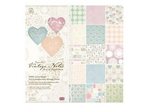 Docrafts / Papermania / Urban Linen Paper Pack, 32 Sheets, Vintage Notes, 30.5 x 30.5 cm