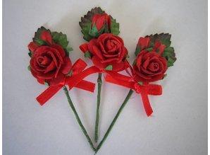 BASTELSETS / CRAFT KITS: 3 mini rød rose buketter med bånd. - Copy