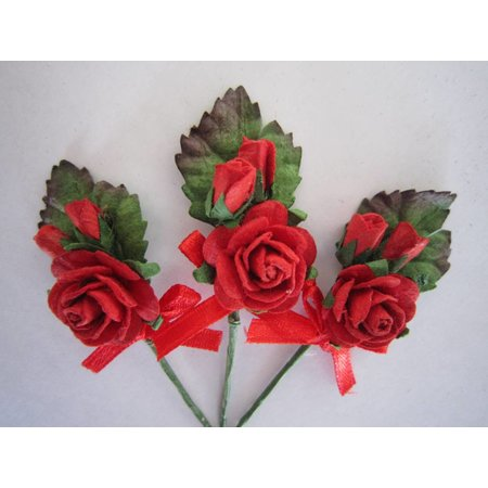 BASTELSETS / CRAFT KITS: 3 mini rode roos boeketten met lint. - Copy