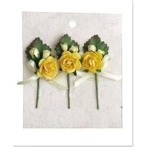 3 mini rosa ramos de flores con un lazo amarillo