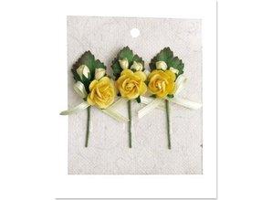 Embellishments / Verzierungen 3 Mini rose buketter med gul sløjfe