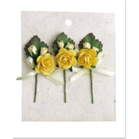 Embellishments / Verzierungen 3 mini rozen boeketten met gele boog
