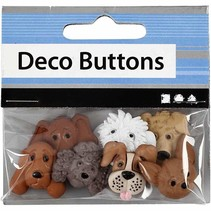 Motif Buttons, 20-25 mm, dogs, 7 pcs.