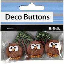 NEW: Motif Buttons, 25-40 mm, night owls, 3 pcs.
