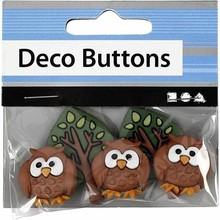 Embellishments / Verzierungen NEW: Motif Buttons, 25-40 mm, night owls, 3 pcs.