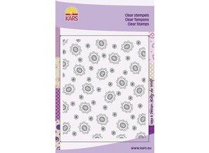 Stempel / Stamp: Transparent Baggrund med hjerte blomster Blomst, 8x16cm