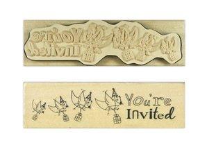"""Stempel / Stamp: Holz / Wood """"Du er inviteret"""""""