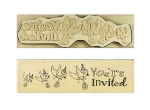 """Stempel / Stamp: Holz / Wood """"You're invited"""""""
