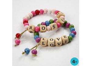 Kinder Bastelsets / Kids Craft Kits Bastelset: 1 armbånd med træperler og perler breve
