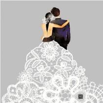 5 Bryllup Servietter med smukt print motiv
