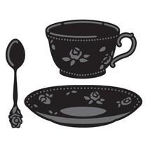 Stanz- und Prägeschablone, Kaffeetasse und Teetasse mit Löffel
