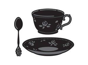 Marianne Design Stansning og prægning skabelon, kaffekop og te kop og ske