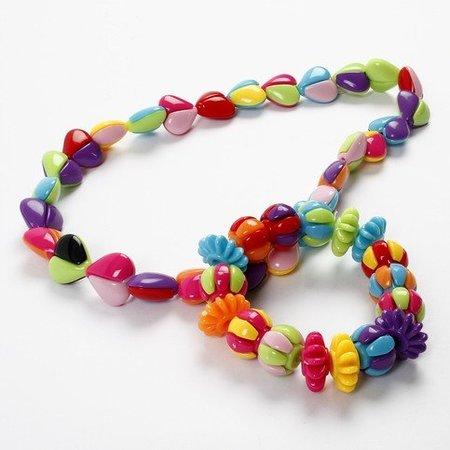 Bastelset für Kinderschmuck, ein Armband und Halskette mit zweigeteilten Perlen