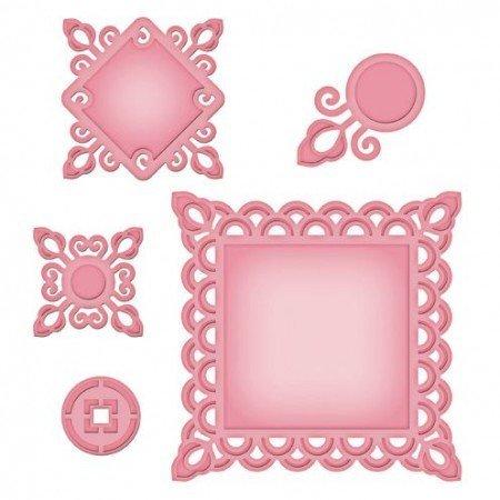 Marianne Design Metallschablone Shapeabilities, Asian Motifs, ø 2,7 - 10 x 10 cm, Ein Set mit 5 Schablonen!