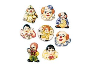 GIESSFORM / MOLDS ACCESOIRES 6 clown brooches, molds, 4-5cm