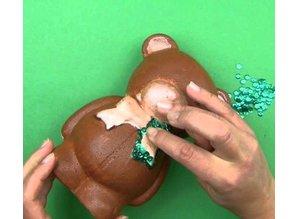 Objekten zum Dekorieren / objects for decorating 1 modulo di polistirolo, orso con il nastro, 20 centimetri