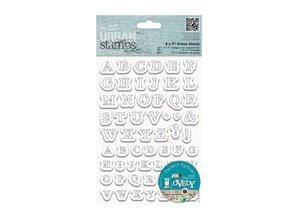 Docrafts / Papermania / Urban Klare frimærker, 12 x 17 cm, Urban Stamp - borduurte bogstaver (Stitched alfabet