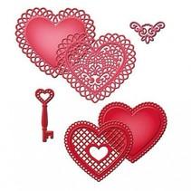 Stanz - und Prägeschablone SET, Spitze Herzen + Vintage Schlüssel