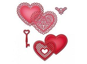 Spellbinders und Rayher Punching - and embossing stencil SET, peak heart + Vintage key