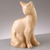 PappArt figuur, kat zitten