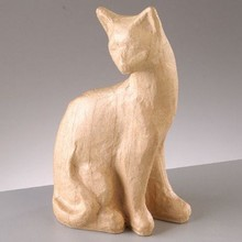Objekten zum Dekorieren / objects for decorating PappArt figure, cat sitting