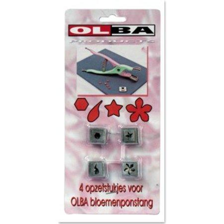 BASTELZUBEHÖR / CRAFT ACCESSORIES OLBA, Set mit 4 Stanzeinsätzen für OLBA Blumenzange