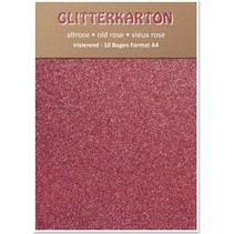 Glitter karton, 10 ark 280g / m², A4, altrosa