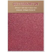 Glitter karton, 10 vellen 280g / m², A4, altrosa