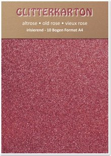 DESIGNER BLÖCKE  / DESIGNER PAPER cartone Glitter, 10 fogli 280g / m², A4, altrosa