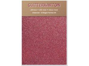 DESIGNER BLÖCKE  / DESIGNER PAPER Glitter cardboard, 10 sheets 280g / m², A4, altrosa