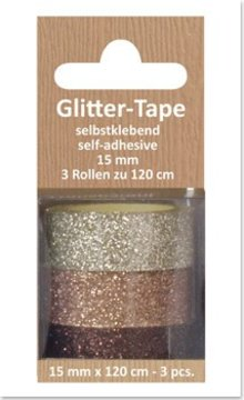 Glitter Tape, self-adhesive, beige, fawn, brown d `