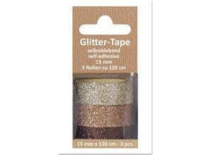 Glitter Tape, selvklæbende, beige, lysebrun, brun d `