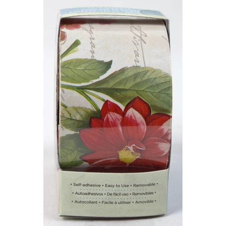 DCWV und Sugar Plum Home Craft Trim 2 - Vintage Wallpaper Roses - Tan/Red/Gree