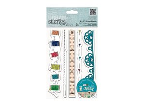STEMPEL / STAMP: GUMMI / RUBBER Rubber stamp, pretty borders Sewing Thread