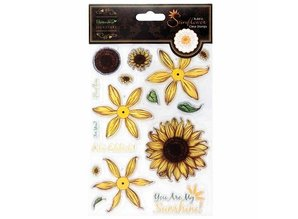 Docrafts / Papermania / Urban Clear stamps, sunflower design in 3D