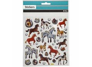 Sticker Fancy Glitter mærkat, ark 15x16, 5 cm, heste, 1 ark