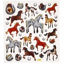 Fancy Glitter Sticker, blad 15x16, 5 cm, paarden, 1 vel