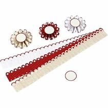 Craft Kit: material set for 6 pcs rosettes, D: 8 cm, 160 g