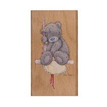 Mig til dig, nusset bamse, træ stempel