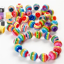 Set of 20 colorful beads with stripes