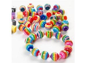 Sæt med 20 farverige perler med striber