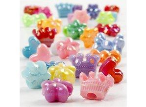 Kinder Bastelsets / Kids Craft Kits Sæt med 30 Pearl Figurenmix, D: 10 mm, assorterede farver